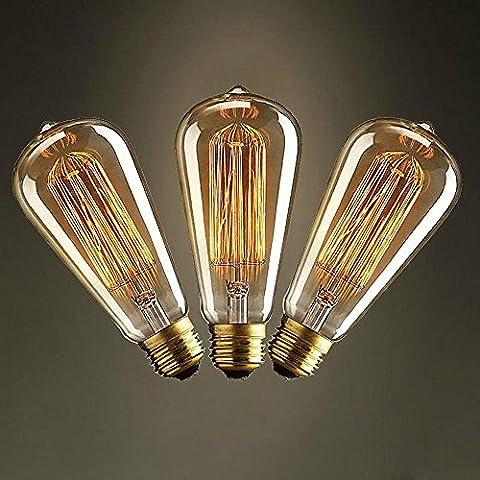 3 Stück ST64 e27 25w,40w,60w Glühlampen Vintage Edisons Glühbirne für Restaurant Club Kaffeebars Licht (220-240) (60)