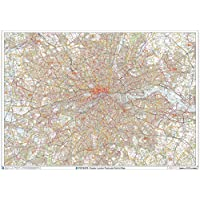 "Greater London Postcode District Wall Map (D7) - 47"" x 33.25"" Laminated"