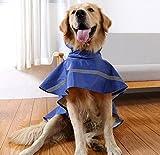 Kismaple Haustier Hund Regenmantel Leichtes Tuch mit reflektierenden Sicherheitsstreifen Hund Regenmantel für große / mittlere / kleine Hund Jacke (L(Chest:64-72cm;Neck:39-44cm), Dunkelblau)