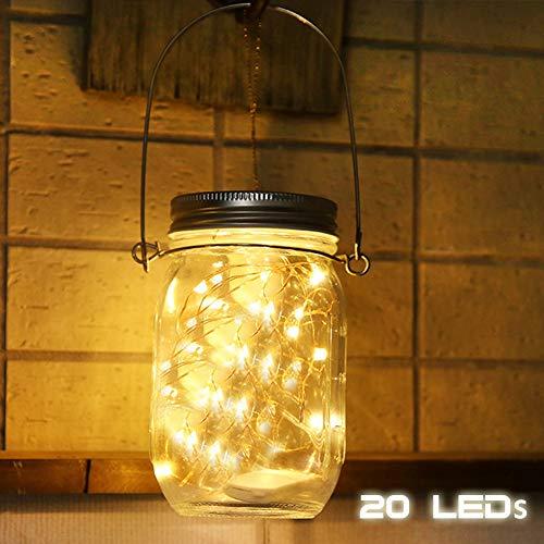 Mason Jar - Luci a LED a energia solare, in vetro impermeabile, da giardino, per giardini, esterni, cortili, matrimoni, feste, bar, bar, tavoli, alberi, recinzioni (caldo), 1 pezzo