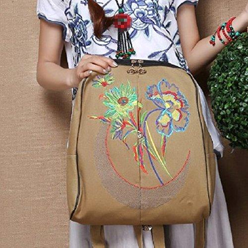 Frauen Stickerei Gestickte Nationale Art Schultasche Rucksack Brown