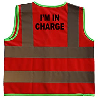 I'm in Charge Driver Baby/Children/Kids Hi Vis Safety Jacket/Vest Size 4-6 Years Red Optional Personalised On Front