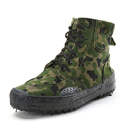 Men's Camouflage High Top Lacing Outdoor Canvas Shoes green