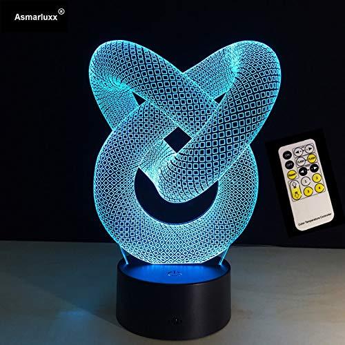 Telecomando o tocco 7 colori Love Knot 3D Night Light Lampada da parete creativa in acrilico 3D Illusion Lampada da tavolo da scrivania USB