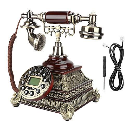 Europäische Vintage Antik Festnetztelefon,klassische Retro Donnerfest,FSK/DTMF Anrufer ID/ IP&P/T/ Kalender/ Uhr/ Telefonleitung Powerd,wunderbare Geschenk/Dekoration für Zimmer,Hotel,zu Hause,Büro - Kunden-id-nummer