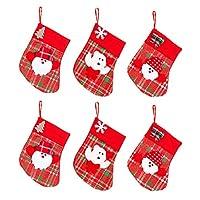 "AMDX 6 Pcs 7.5"" Burlap Christmas Stockings Hanging Craft Socks Favors Decorating Rustic Ornaments Santa Snowman"