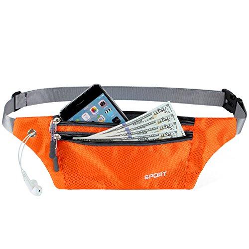 AirZyx Wasserdichte Bauchtasche Geeignet für Sport & Outdoor Aktivitäten, Hüfttasche für Damen und Herren, Bauchtasche Wasserdicht Hüfttaschen für Running (Orange)