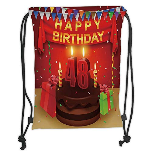 Fashion Printed Drawstring Backpacks Bags,48th Birthday Decorations,Presents Chocolate Cake with Candles Party Flag Artsy Print,Red Brown Lime Soft Satin,5 Liter Capacity,Adjustable String Closure
