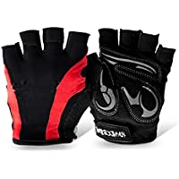 XeibD Ciclismo Bike Riding Gloves Half Finger Shock-Absorption Sports Fitness Guantes sin Dedos para Mujeres Hombres (L)
