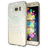 NALIA Handyhülle für Samsung Galaxy S7 Edge, Slim Silikon Motiv Case Hülle Cover Crystal Schutzhülle Dünn Durchsichtig, Etui Handy-Tasche Backcover Transparent Bumper, Designs:Mandala Blau Türkis
