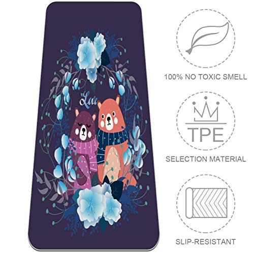Indimization Blaues Kranz-Braunbär-Paar Yogamatte Pilates Freestyle Gymnastik Sport rutschfest ungiftig Geruch Fitness Trainingsmatte für Frauen & Mädchen -