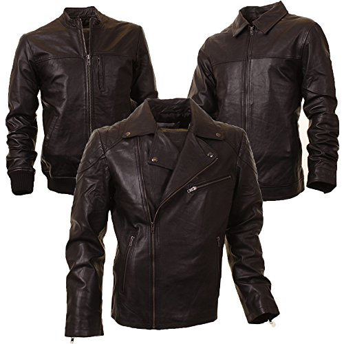 Mens Haines & Bonner Biker Bomber Harrington Real Leather Nappa Jacket 3 Styles