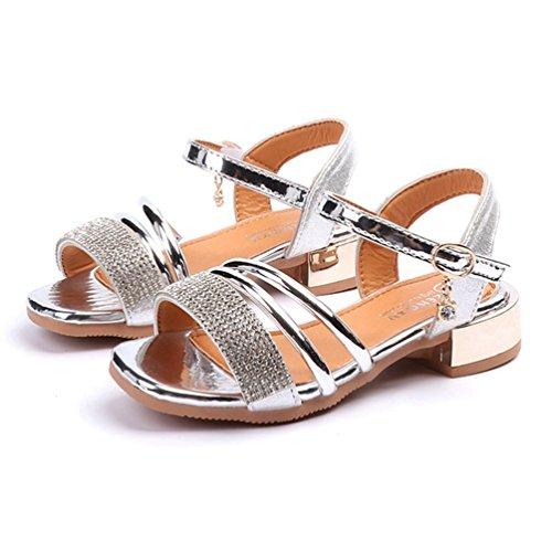 (Mädchen Open Toe Strap Sandalen Metallic Sommer Low Heel Prinzessin Kleid Schuhe (Kleinkind/Kleines Kind))