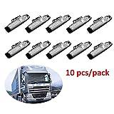 PolarLander 10Pcs 24V 6LED Seitenmarkierungs-Anzeigen Lichter-Lampen für Auto-LKW-Anhänger LKW 6 LED-Bernstein-Räumungs-Bus wasserdichtes Weiß