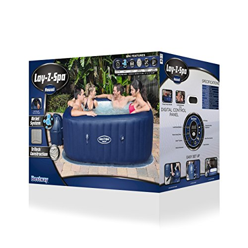 Lay-Z-Spa Hawaii Hot Tub, Airjet Square Inflatable Spa, 4-6 Person