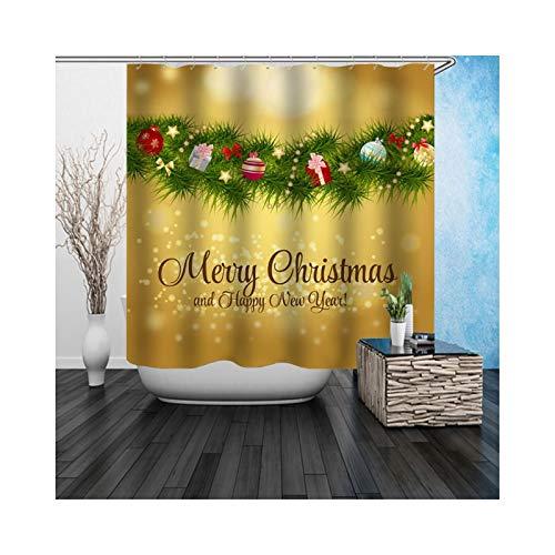 Adisaer Tela Resistente Cortina de Ducha Verde Árbol de Navidad 180X 200 Decoración de baño Impermeable con Ganchos Blancos