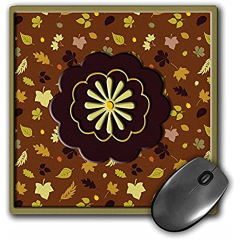 Bev Newcomer Patterns - Yellow Fall Flower on Brown, Green