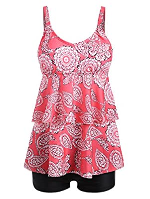 Perfectii Womens Two Piece Tankini Set Floral Printed Swimsuit Beachwear with Boyshort