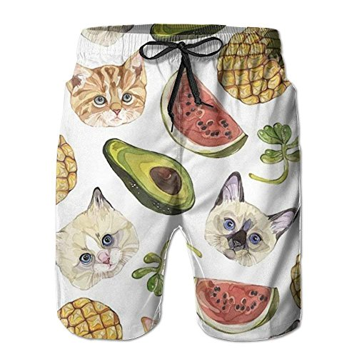 Animal Fruit Pattern Men's Beach Pants Quick Dry Swim Trunks,Men's Beach Shorts Quick Dry Summer Surfing Trunks Surf Board Shorts Beach Pants with Pockets for Men Medium -