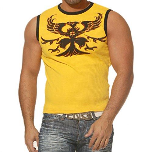 Bring Up Herren Tanktop Muscle Shirt Ärmellos Adler Eagle BU5808, Größe:L, Farbe:Gelb (Ärmelloses Eagle)