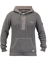 Pull Homme Crosshatch Pull Tricot Haut À Capuche Pull-over Bouton Hiver