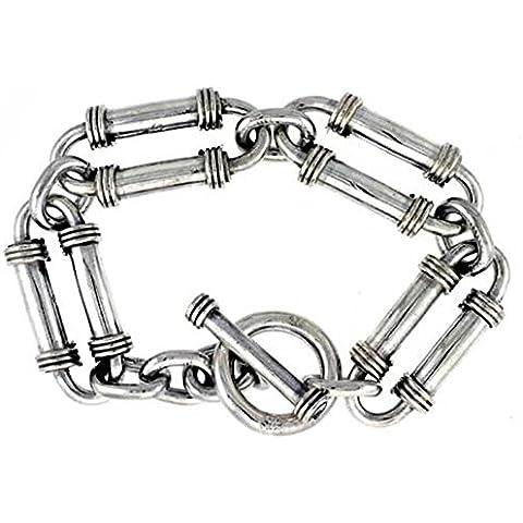 Revoni-Bracciale in argento Sterling, realizzato a mano, con bracciale, doppio tubo