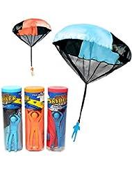 BEETEST Niños bebes deportes al aire libre mano lanzar paracaídas Mini juguete educativo Cantidad de Color al azar 1