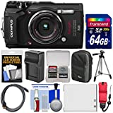 Olympus Tough TG-5 4K Wi-Fi GPS Shock & Waterproof Digital Camera (Black) with 64GB Card + Case + Battery & Charger + Tripod + Float Strap + Kit