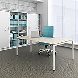 Winkelschreibtisch links NOVA 180 x 120 cm Ahorn Computertisch Eckschreibtisch , Gestellfarbe:Weiß