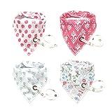 MOFOM-4er Baby Bibs Dreieckstuch Lätzchen Spucktuch doppellagig saugfähig Baumwolle Halstücher Mit Druckknöpfen für Mädchen