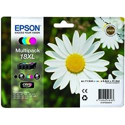 Encre d'origine EPSON Multipack Pâquerette T1816 : cartouches Noir XL, Cyan XL, Magenta XL et Jaune XL Amazon Dash Replenishment est prêt