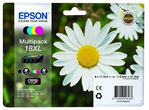 Encre d'origine EPSON Multipack Pâquerette T1816 : cartouches Noir XL, Cyan XL, Magenta XL et Jaune XL