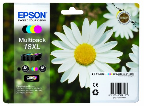 Epson XP30/302/405 XL Capacity Ink Cartridges - Black/Cyan/Magenta/Yellow (Pack of 4)
