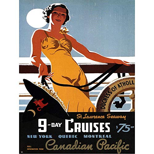 Wee Blue Coo LTD Travel Tourism Canadian Pacific Cruise St Lawrence Canada Quebec Art Print Poster Wall Decor Kunstdruck Poster Wand-Dekor-12X16 Zoll -