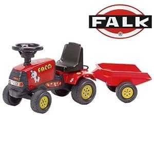 Falk Ride On Red Farmer Tractor & Trailer