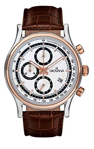Para hombre reloj infantil de cuarzo con Grovana plateado cronógrafo y correa de piel color marrón 1730,9552
