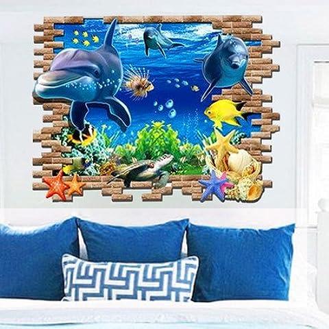 luci-dolphin 3d sfondo adesivo da parete Salotto Divano illusione di Space Marine impermeabile adesivi, 3d giraffe, large