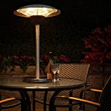 51DfXo4RFhL. SL160  - BEST BUY #1 Fire Mountain Electric Table Top Patio Heater - Stainless Steel, Three Power Settings, 2100W Max, Halogen Bulb, 1m High, 5m Power Cable Reviews and price compare uk
