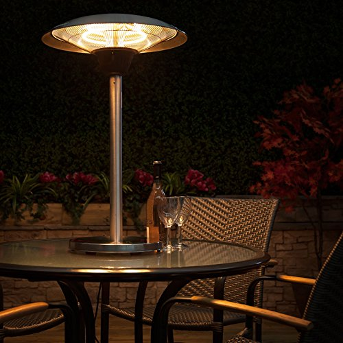 51DfXo4RFhL - BEST BUY #1 Fire Mountain Electric Table Top Patio Heater - Stainless Steel, Three Power Settings, 2100W Max, Halogen Bulb, 1m High, 5m Power Cable Reviews and price compare uk