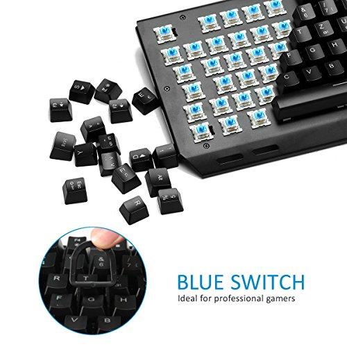 Mechanische tastatur, MECO Gaming Tastatur Key-Click Tasten, RGB, Ergonomischen Design, QWERTZ-Layout, 100% Wasserdicht, 105 Tasten Anti-Ghosting, Macro Recorder Mechaniche Tastatur - 2