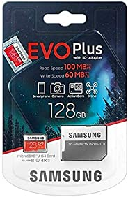 بطاقة تخزين ايفو بلس مايكرو اس دي اكس اس بسعة 128 جيجا من سامسونج مع محول عالية السرعة يو اتش اس -1 اس دي ار 1