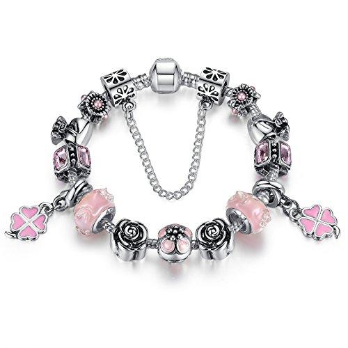 Wostu Mothers Day Deals sconto sicuro Catene lega placcata in argento rosa strass Clover accessori braccialetti con perline