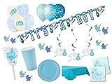 Partydekoset Babyparty Baby Shower Junge blau für 12 Personen 85 teilig Pullerparty Baby Geburt Babyparty Komplettset Tischdeko Party Geschirr