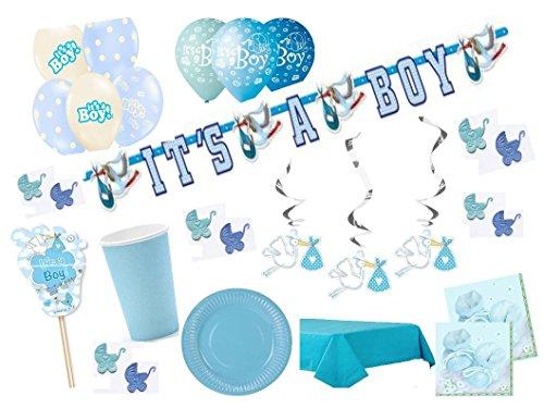 Partydekoset Babyparty Baby Shower Junge blau für 6 Personen 73 teilig Pullerparty Baby Geburt Babyparty Komplettset Tischdeko Party Geschirr