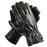 Winter Lederhandschuhe, Herren Fahren Echtleder Warm gefüttert Handschuhe