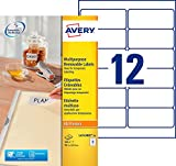 Avery 300 Etiquettes Autocollantes Amovibles (12 par feuille) - 99,1x42,3mm - Impression Laser, Jet d'Encre - Blanc (L4743REV)