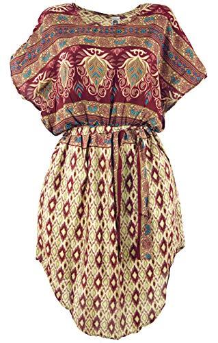 Guru-Shop BohoTunika, Ikat Minikleid mit Gürtel, Damen, Bordeauxrot/beige, Synthetisch, Size:38, Kurze Kleider Alternative Bekleidung