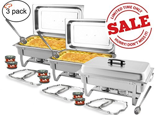 TigerChef 8 Quart Full Size Stainless Steel Chafer with Folding Frame and Cool-Touch Plastic on top - includes 2 Free Chafing Gels and Slotted Serving Spoon (3, 8 Quart Chafer) by Tiger Chef (Steel Chafer)