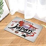 gohebe Asiaten Tourist Decor Cartoon Tiere Japan Reisen Bad Teppiche rutschhemmend Fußmatte Boden Eingänge Innen vorne Fußmatte Kinder Badematte 39,9x59,9cm Badezimmer Zubehör