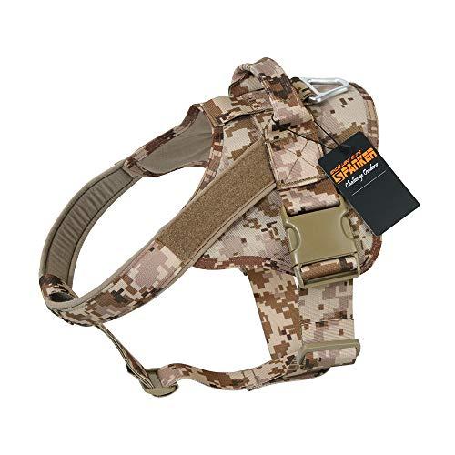 EXCELLENT ELITE SPANKER Hundegeschirr militärischen Ausbildung Patrol K9 Service Dog Weste Arbeiten verstellbar Hund Weste(Camouflage Desert-S) -